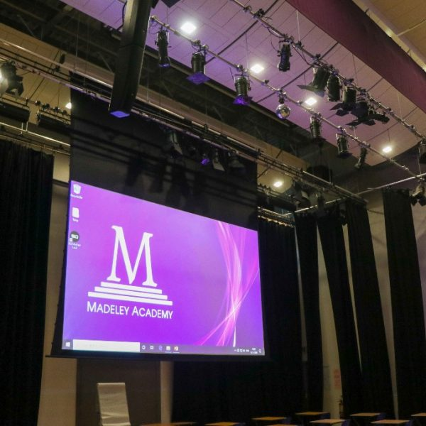 Complete AV upgrade for Madeley Academy theatre, projector screen